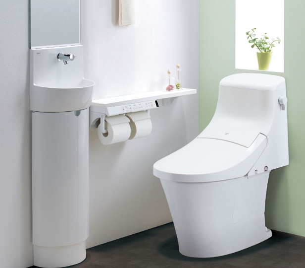 タンク一体型のトイレ